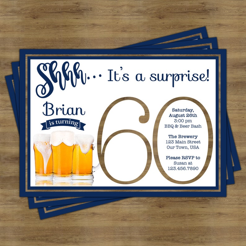 Beer Party Invitation Surprise 60th Birthday For
