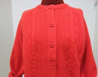 Vintage Handmade Orange Cardigan, Vintage Button Up Cardigan, Cable Knit Cardigan, Cable Knit Sweater, Red Orange Sweater