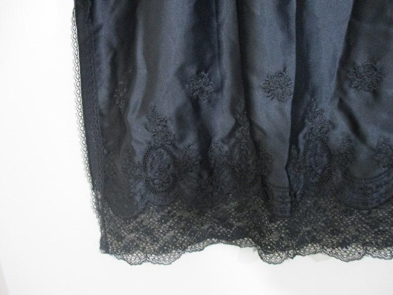 Black Lace Embroidered Slip 1960s Lace Lingerie Knee Length Slip Vintage Jewels by SLT