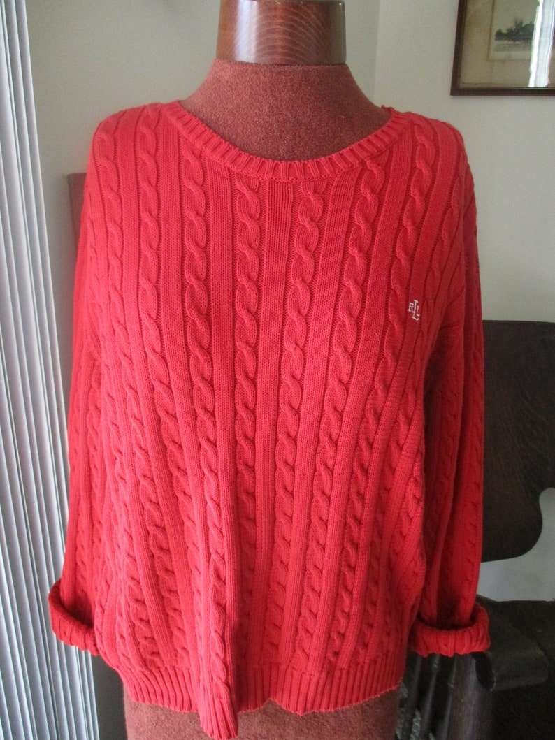 7bca1802d Vintage Red Cable Knit Sweater Ralph Lauren Cable Knit Sweater