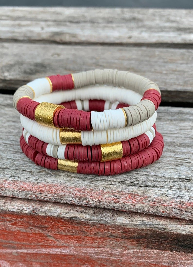 AGGIE SPECIALTY  Stack Disc Heishi Bracelets/8mm Stack Soft image 0