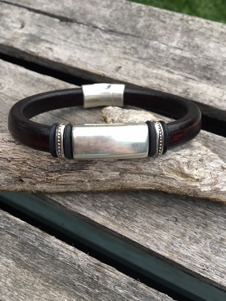 Antique Silver Tube Men's Bracelet Leather Men's image 0