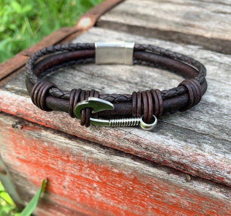 Gift for a Fisherman/ Fishhook Bracelet/Fisher of Men image 0