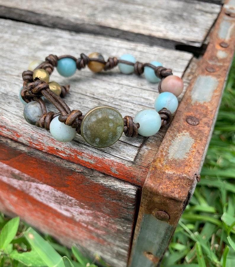 Leather and Amazonite Single Wrap Bracelet/ Hand Knotted image 0