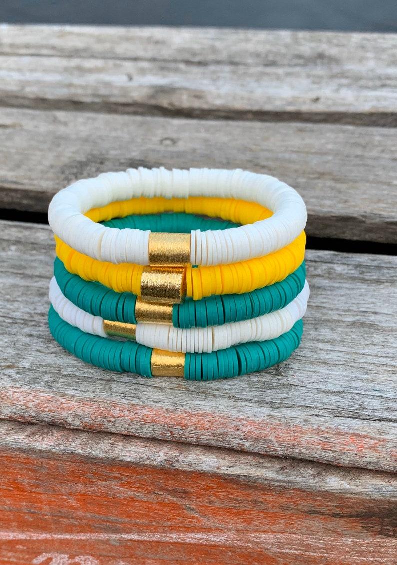BAYLOR BEAR Filo CLay Heishi Bracelets/8mm Triple Stack Soft image 0
