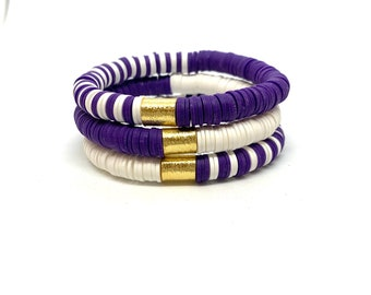 Heishi Clay TCU Bracelet College Stack/ 8mm Soft African Disc Bracelet/Purple/White/Stretch Bracelet/Lightweight/Stretch Bracelet