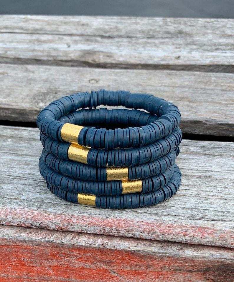 African Vinyl Navy African Heishi  Disc Bracelets/8mm Soft image 0
