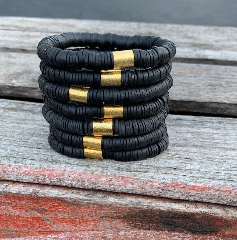 African Vinyl Black African Heishi  Disc Bracelets/8mm Triple image 0