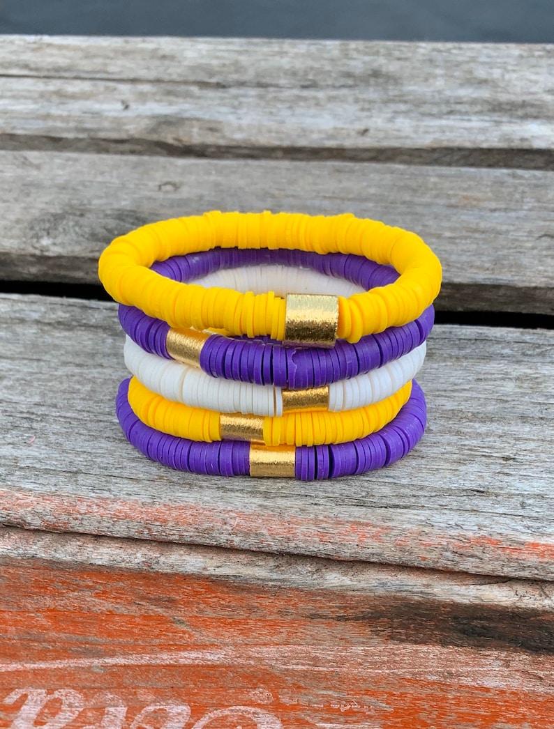LSU Filo CLay Heishi Bracelets/8mm Triple Stack Soft African image 0