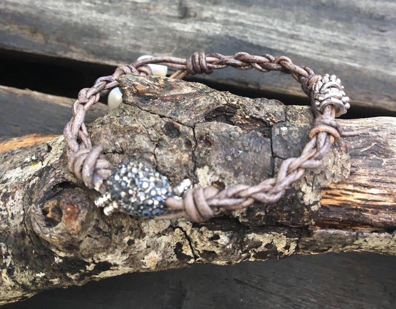 Hematite Encrusted Beaded Leather Knotted Bracelet/Braided image 0