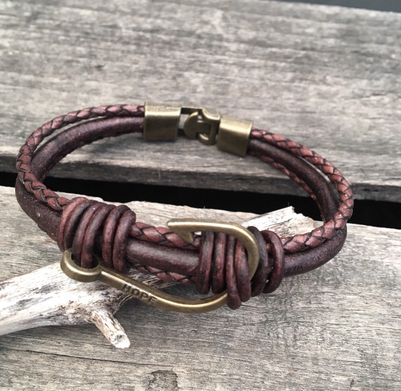 Leather Fishermen's Brass Fish Hook Hope Bracelet/Fisher image 0