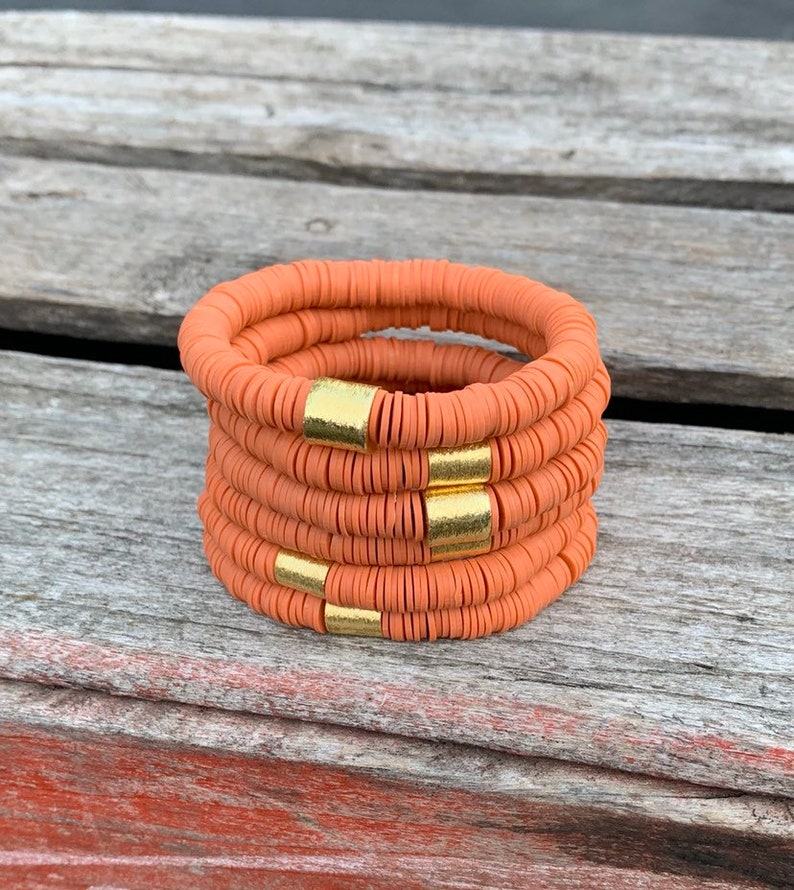 African Vinyl Disc Heishi Bracelets/8mm Burnt orange Soft image 0