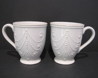 Lenox French Perle White 2 Mugs in Excellent Condition