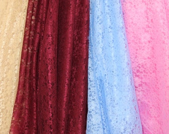 """Rachelle Floral Lace, 60"""" Wide, Sells by the Yard, Non Stretch, Price is for one Full Yard, Many Colors Available."""