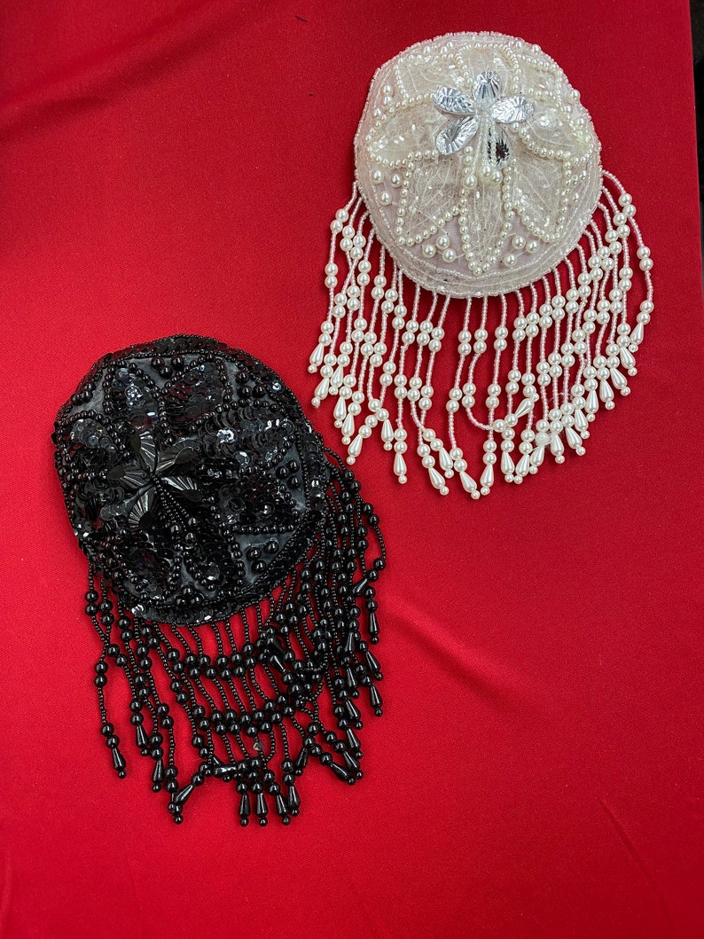 Beaded Bra Cups with Fringe Price is per Piece. Pearl White or Black