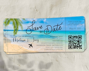 Mexico Boarding Pass Save the Date with Optional Magnetic Backing  Spanish Tile Save the Date  Destination Save the Date