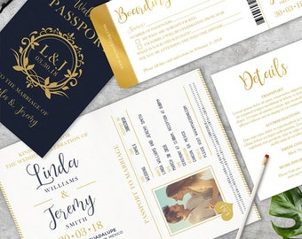 Passport Printable Bundle Destination Wedding Invitation Travel Theme