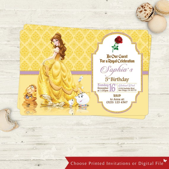 photo about Disney Birthday Cards Printable called Magnificence and The Beast Birthday Card, Posted Printable Disney Birthday Bash Invitation Card, Disney Princess bash disney topic occasion splendor