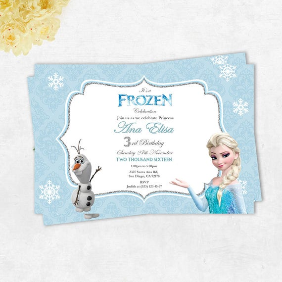 Frozen Elsa And Olaf Printable Birthday Card Frozen Etsy