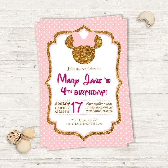 Minnie Mouse Niña Diamantina Invitacion de Cumpleaños