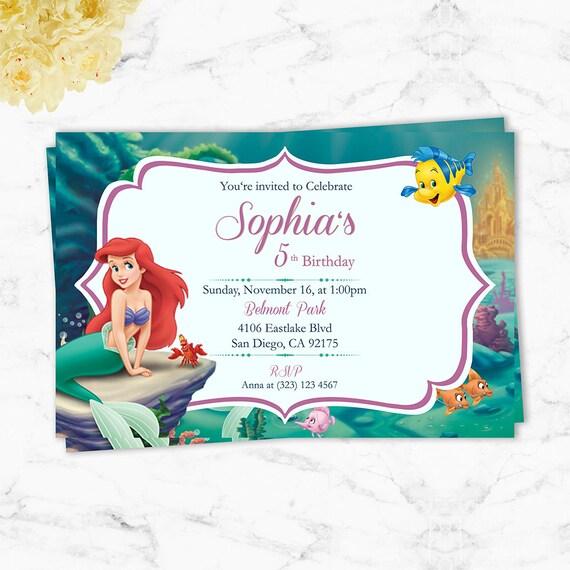 Sirenita Ariel Invitacion De Cumpleanos Imprimible Tarjeta Etsy