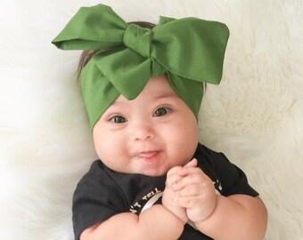 Olive Head Wrap, dark green head wrap, fabric head wrap, newborn head wrap, Toddler head wrap, baby head wrap, Big Bow, Green Bow, accessory