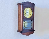 Professionally Restored Vintage Antique Solid Oak German TRIPLE CHIME Pendulum Wall Clock - Hand Made, One of a Kind