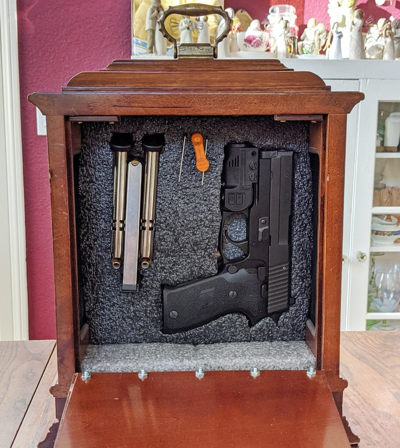 Concealed Handgun Safe Storage Clock Concealment Functioning Clock High Security Barrel Lock Brass Hinges, Secure Handgun Pistol Storage