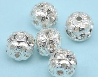 leafed Clover Connectors Embellishment 5x 2-strand Rhinestone Diamante Pearl 5