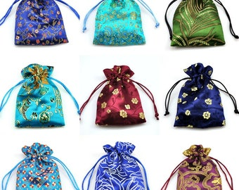 Jewellery Pouches Various colours - Satin Drawstring Patterned Gift Bags Premium Quality 14 cm x 10 cm