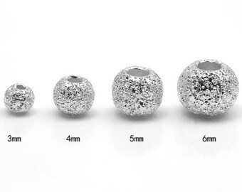 Genuine 925 Sterling Silver Stardust Round Beads Spacers  4mm 5mm 6mm