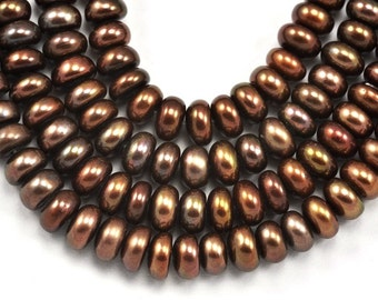 Pearls 7mm Bronze Brown Rondelle Button Freshwater Pearls Grade A