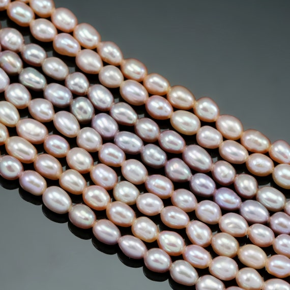7-8mm Natural Pink Rice Oval Cultured Freshwater Pearls AA for Jewellery Making