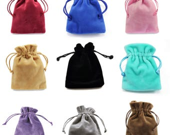 "Velvet Jewellery Pouches 8cm x 10cm , Drawstring Gift Bags Thick Soft High Quality - (3.1""x 3.9"")"