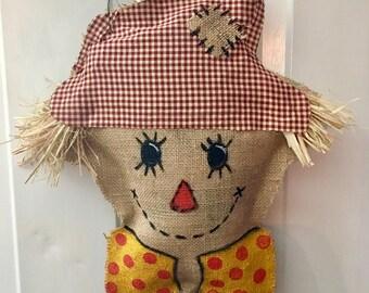 Scarecrow burlap door hanger