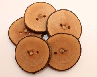 """Set of 5 maple wooden buttons   0.8 - 1.2 """"   Wood buttons   Natural wooden buttons   Buttons made of slices"""
