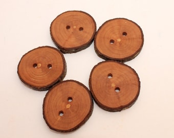 """Set of 5 apple wooden buttons   1 - 1.4 """"   Wood buttons   Eco friendly buttons   Buttons made of slices"""