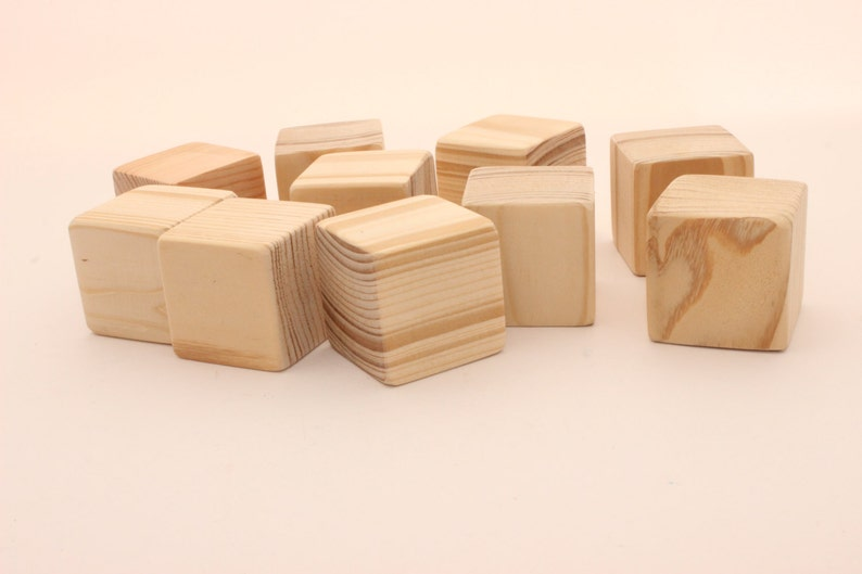 Set Of 10 Pine Wooden Blocks 1 12 Inch 4 Cm Unfinished Wood Blocks Blocks With Extra Sanded Corners Square Blocks Wooden Cubes