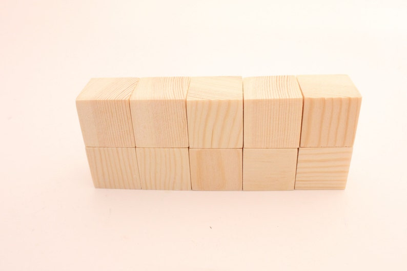 Set Of 10 Pine Wooden Blocks 1 12 Inch 4 Cm Unfinished Wood Blocks Natural Blocks Square Blocks Diy Crafting Wooden Cubes