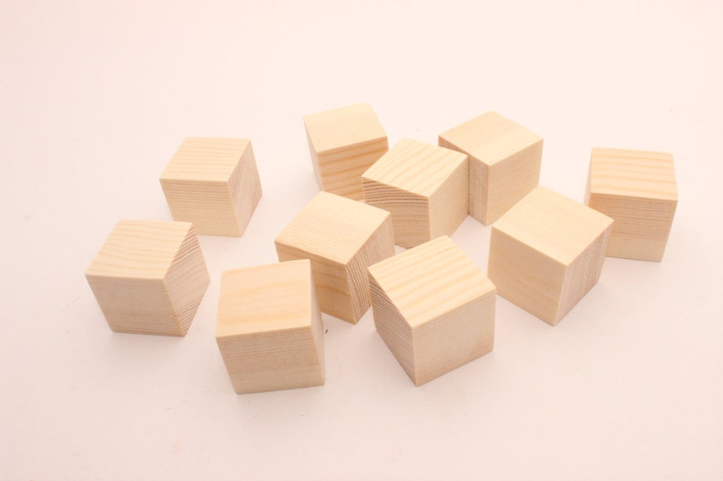 Set Of 30 40 50 1 Inch Pine Wooden Blocks 1 Unfinished Blocks Wooden Cubes