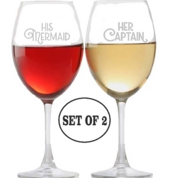 His Mermaid Her Captain Stemless Wine Glasses Etched Engraved Perfect Fun Handmade Gifts for Everyone Set of 2