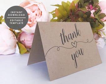 Printable Thank You Card Template, WeddingThank You Card, Kraft Thank You card, Instant Download, Printable Template, GD_WT125