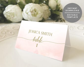 blush and gold place card template printable name card folded place card blush watercolor editable template instant download wsp123 - Folded Place Cards