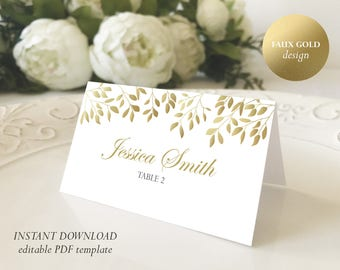 photograph regarding Gold Printable Place Cards known as Gold House card Etsy