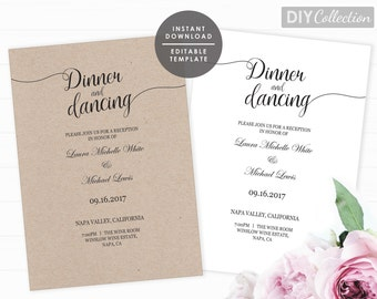Reception Only Invitation Template Rustic Printable Wedding