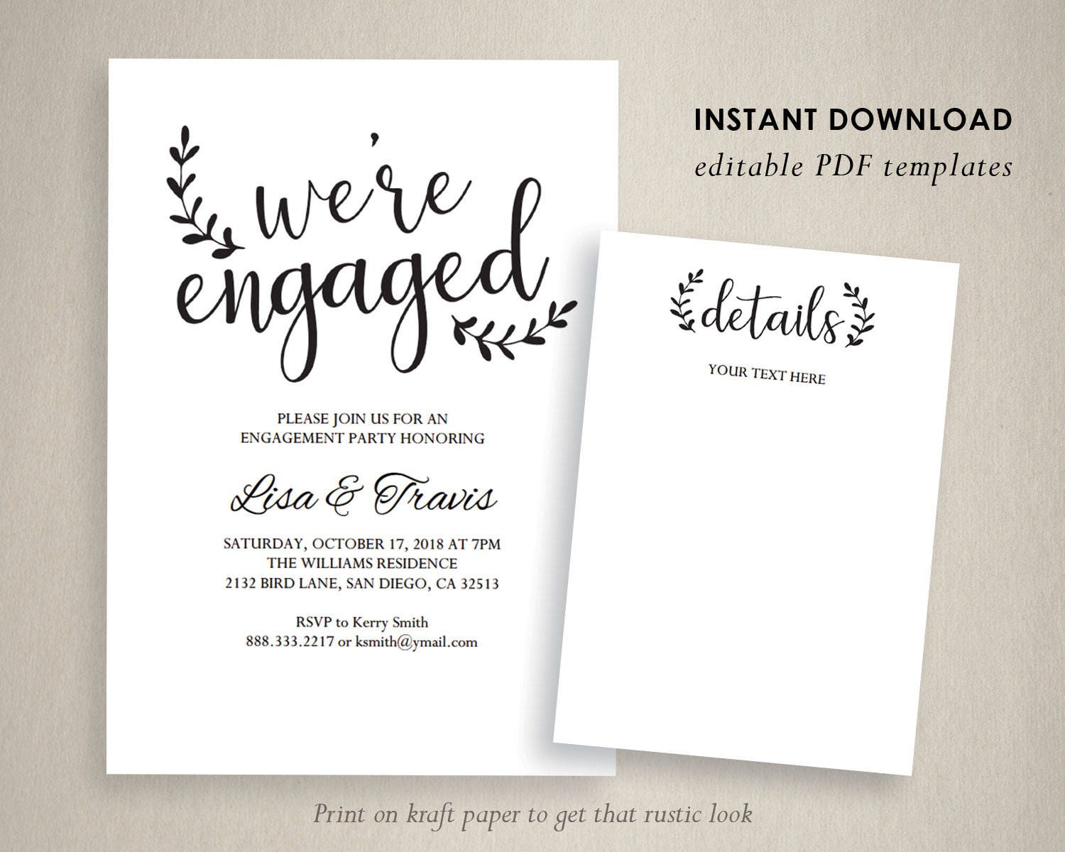 Engagement Party Invitation Template We Are Engaged PDF Calligraphy Editable PDFE105