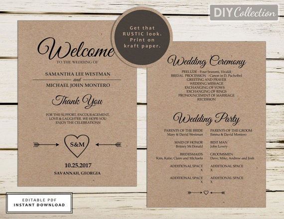 rustic wedding program template printable wedding programs etsy