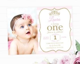 Princess first birthday invite, First birthday pink and gold princess invite, Printable invitation, Princess themed birthday