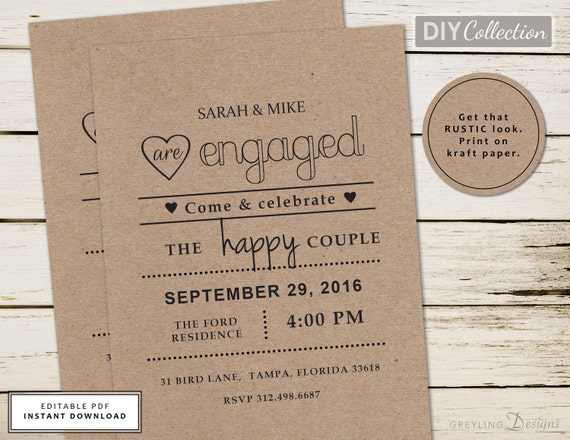 Kraft Engagement Party Invite Rustic Chalkboard Instant Download Template GD E101