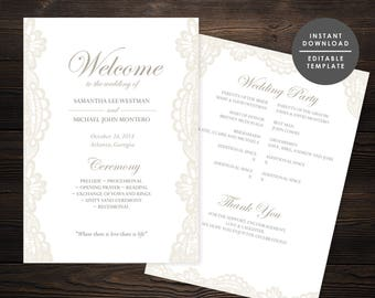 Lace Wedding Program, Elegant wedding program, Beige Program, Instant download, Editable template, Classic Elegant Program #GD_WP127